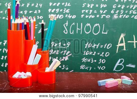 Colorful Stationary And Blackboard