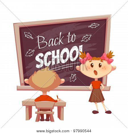 Schoolgirl answer lesson near school desk. Vector illustration