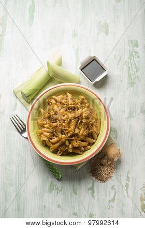 oriental pasta with leek seed sesame ginger and soy sauce