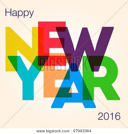 New Year Card With The Different Colored Big Letters.