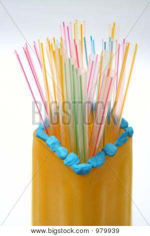 Color Tubules For A Cocktail In A Vase