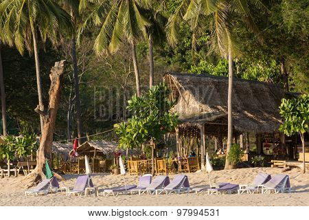 Tropical beach resort in the Bamboo bay, Ko Lanta island in Thailand