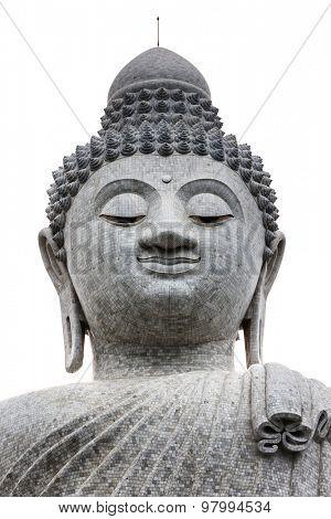The Phuket Big Buddha head isolated on white background