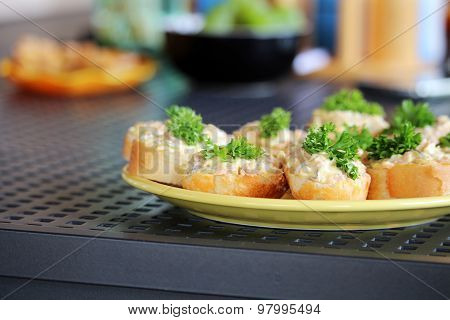 Savory With Spread And Vegetables On The Table