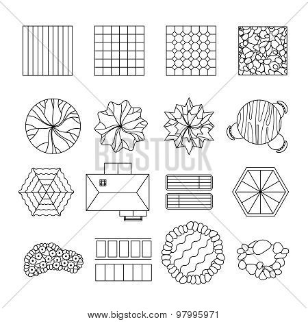 Landscape garden design elements set line