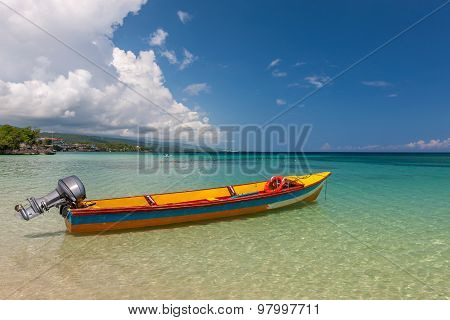 Fish boat on the paradise beach