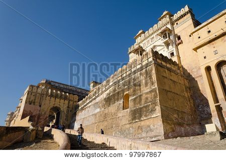 Jaipur, India - December 29, 2014: Tourists Visit Amber Fort Near Jaipur, Rajasthan, India
