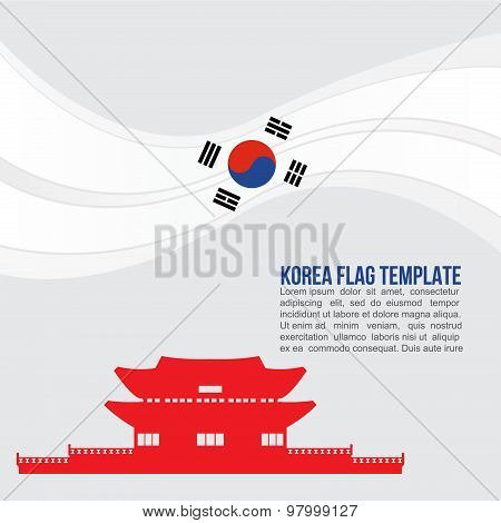 Korea flag wave and Gyeongbokgung Palace symbols