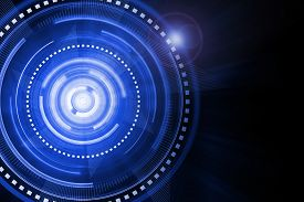 picture of time machine  - Abstract blue lighting cog time - JPG