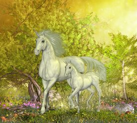 stock photo of colt  - A white mother unicorn leads her colt through the magical forest full of spring flowers - JPG