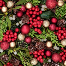 picture of greenery  - Christmas abstract background with red bauble decorations - JPG