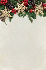 picture of greenery  - Christmas abstract background border with gold snowflake decorations - JPG