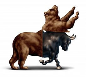 foto of flatline  - Bull market economic recovery financial business concept as a bear opening up and revealing an emerging bullish stock market as a metaphor for change in investing sentiment and positive investor sentiment - JPG