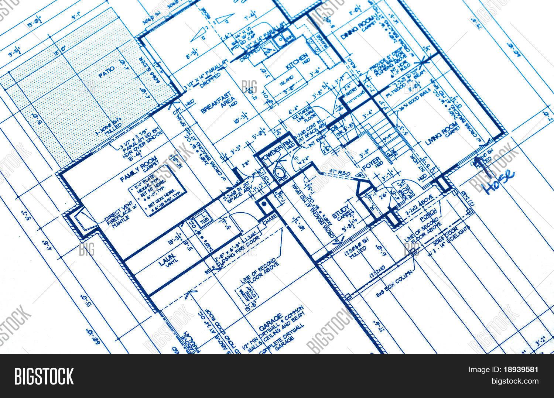 house plan blueprints from a new housing development stock photo