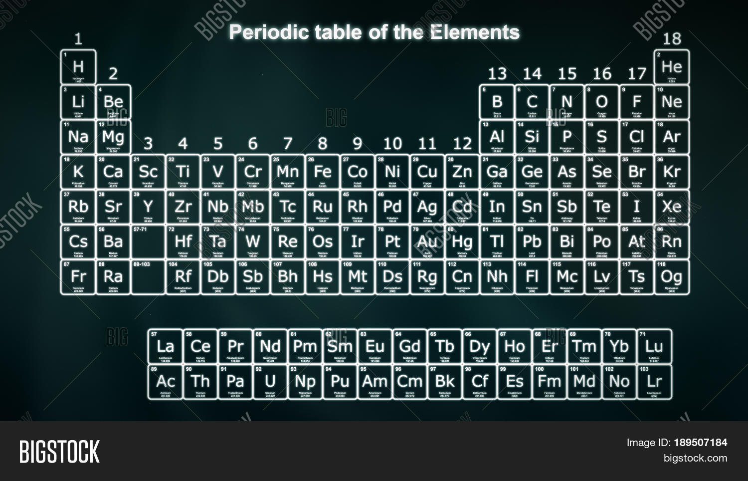 Complete periodic table elements image photo bigstock - Complete periodic table of elements ...