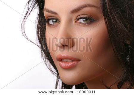 closeup portrait of attractive young woman isolated on white background
