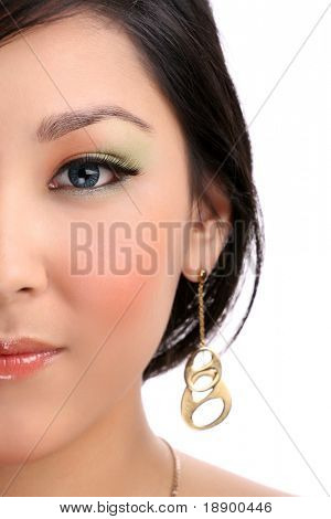 half of young female face wearing contact lenses isolated on white background
