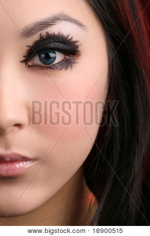 female face of asian woman