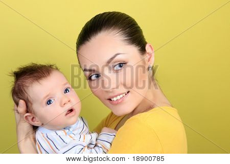 attractive young mother with 2 month  baby