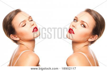 composition of two pictures of attractive female isolated on white