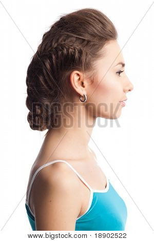 closeup portrait of attractive caucasian woman with stylish hairstyle