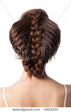 closeup view of caucasian female stylish hairstyle