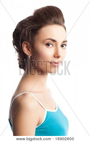 closeup portrait of attractive caucasian female with stylish hairstyle