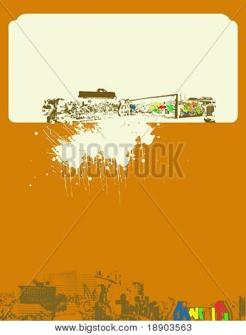 House and car abstract envelope on brown background