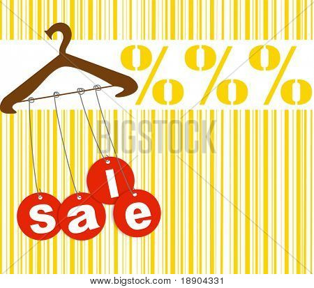 Hanger with sale tags