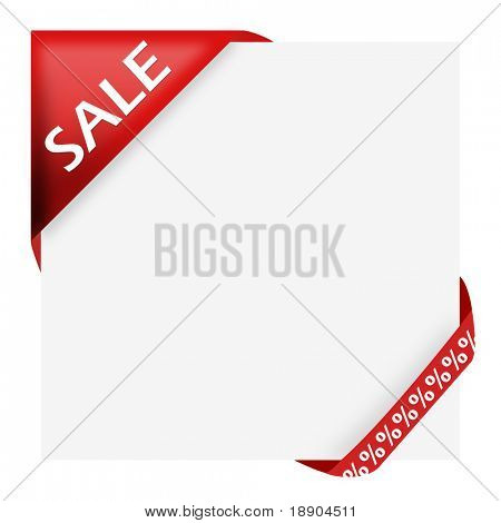 Red corner ribbon with sale sign and percent discount