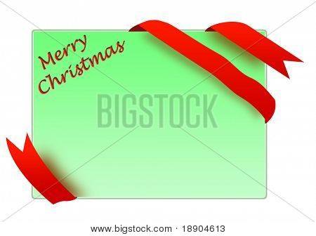 Golden corner ribbon with merry christmas sign