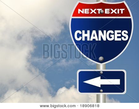 Changes road sign