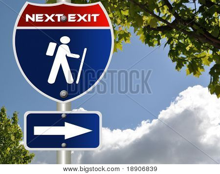 Hiking road sign