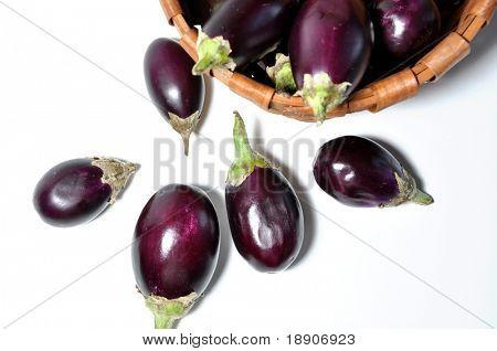 Fresh eggplant with basket