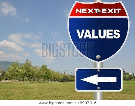 Values road sign