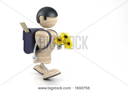 Boy And Yellow Flowers