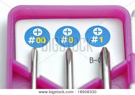 Close-up small screwdrivers with box
