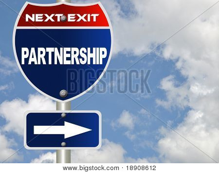Partnership road sign