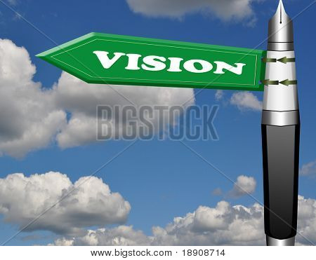 Vision fountain pen road sign