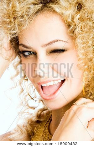 Beautiful woman winking
