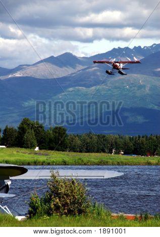 Red Floatplane Landing