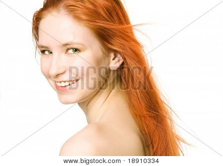 Happy smiling redhaired woman