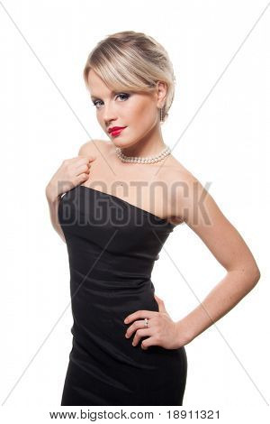 Sexy blonde woman in little black dress isolated on white