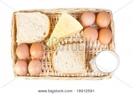 a basket of dairy products over white