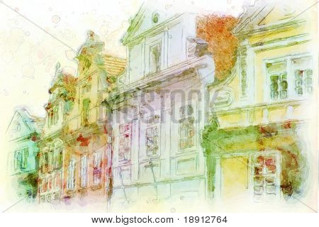 street in old part of prague made in artistic watercolor style with texture