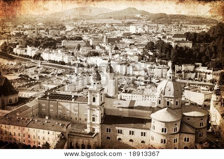 panoramic view of Salzburg made in retro artistic style