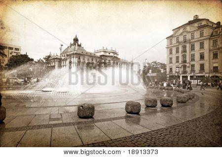 Karlsplatz in München gemacht im künstlerischen retro-Stil