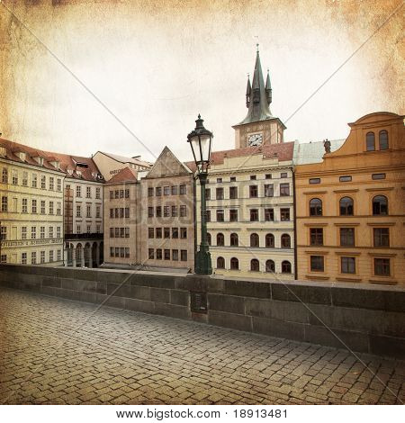 views of old part of Prague, from Charles bridge, made in retro style