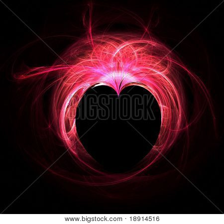 red fractal heart over black