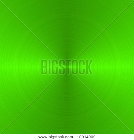 circular brushed neon green metallic background with central, vertical highlight